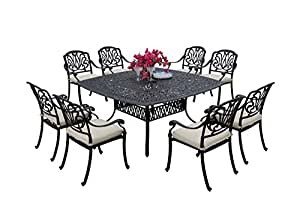 AC HOME & PATIO A/AC17-9PC-707E Lancaster 9 PC 64'' Square Outdoor-and-Patio-Dining-Sets, Black
