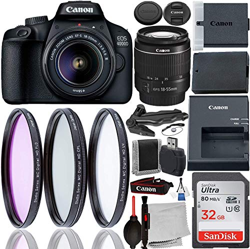 Canon EOS 4000D DSLR Camera with 18-55mm III Lens & Starter Accessory Bundle - Includes: SanDisk Ultra 32GB SDHC Memory Card + 3PC Multi-Coated Filter Set + Memory Card Reader + Cleaning Kit + More