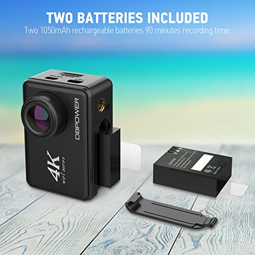 "51m%2BFgadG1L - DBPOWER D5 Native 4K EIS Action Camera 2"" LCD Touchscreen 14MP WiFi Waterproof Sports Camera with 4K 30fps Video and 170° Wide-Angle Lens 2.4GHz Remote Control 2 Pcs Rechargeable Batteries"