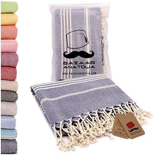 Bazaar Anatolia Turkish Towel%100 Cotton Pestemal Turkish Towel 40x71 Bath Towel Turkish Beach Blanket Travel Towels Fast Drying Lightweight Beach Towel Dark Blue