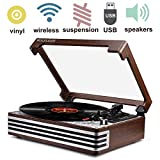 Record Player Turntable Vinyl LP Wireless 3-Speed Record Player USB SD Belt-Driven Reto Style Vinyl Record Player Built-in Speakers Vintage Style (2019 Model)