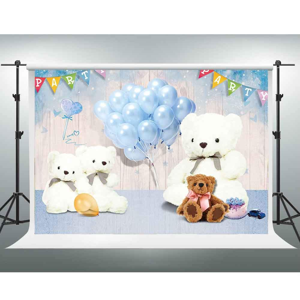 White Teddy Bear Background,10x7ft Blue Balloon Wooden Board Photo Backdrop for Children Photography,Party Decoration Banners,Photo Booth Props LSGE486