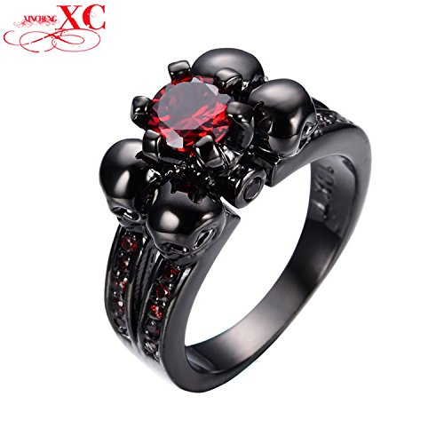 Myn Jewelry Red Zircon Vintage Black Skull Ruby Jewelry Women/Men Ring Anel Aneis Black Gold Filled Ring for Halloween RB0336