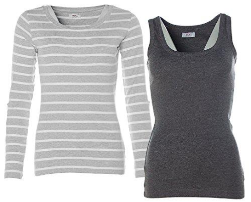 Flashlights - Camiseta de manga larga - Cuello redondo - Manga Larga - para mujer Grau+Anthrazit