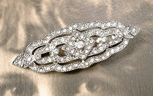 Gatsby bronze bead hair clip; silver hair clip; Art Deco Gatsby style bridal hair piece; handmade wedding hair accessory; vintage inspired