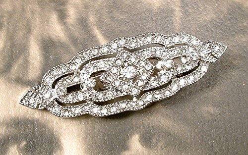 Great Gatsby Bridal Hair Barrette Clip, Art Deco 1920s Vintage Wedding Silver Rhinestone Geometric