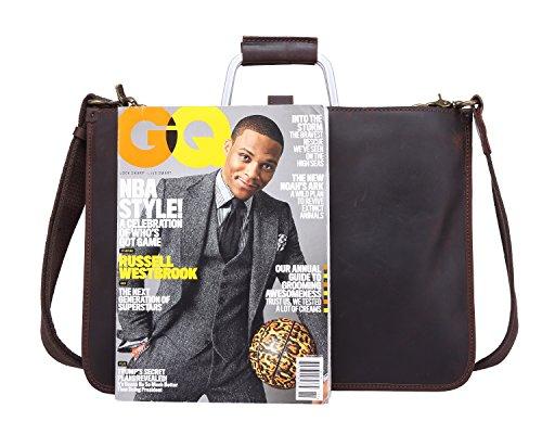 schouder Scsy lederen Retro Messenger eenvoudige Bag Bag Crazy Messenger bags Horse Brown voor mannen r8wrq0xB