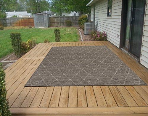 "Garden and Outdoor Ottomanson Jardin Collection Rug, 5'3″ x 6'11"", Grey Trellis outdoor rugs"