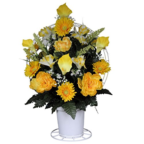 Sympathy Silks Yellow Peonies with Yellow Calla Lilies Silk Flower Basket by -