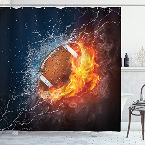 Ambesonne Sports Decor Collection, Football on Fire and Water Flame Splashing Thunder Lightning Abstract Print, Polyester Fabric Bathroom Shower Curtain Set with Hooks, Navy Orange Peru White