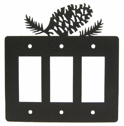 Pinecone Triple GFI Rocker Light Switch Plate Cover ()
