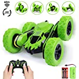 RC Stunt Car Toy for Christmas Gift, 2.4GHz Off Road Remote Control Vehicle Spining Flip Flash Double Sided 360°Rolling Rotating Rotation Great Gift for Kids, Green