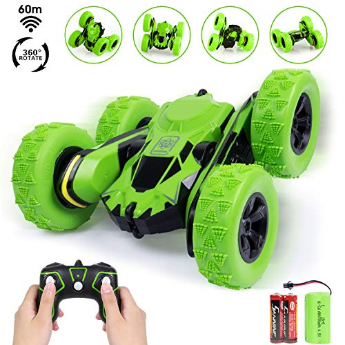 Gas Powered Rc Race Cars - iFixer Stunt RC Car, 3D Deformation Car Toy, 2.4G Remote Control Vehicle Spining Flip Flash Double Sided 360°Rolling Rotating Rotation for Kids Birthday Festival Present Gift, Green