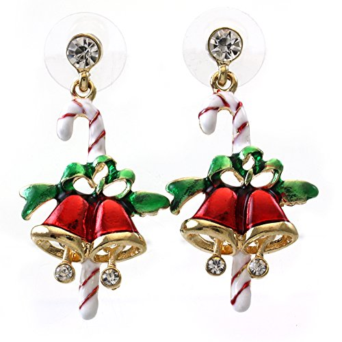 SoulBreezeCollection Candy Cane Christmas Jingle Bells Earrings Winter Gift Stuffers Stud Enamel (Rhinestone Christmas Stocking)
