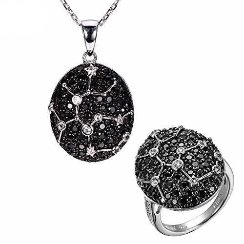 (SuperLouisa Fashion Sagittarius Black Spinel & White Topaz Pendant & Ring Solid 925 Sterling Silver Necklace Jewelry Sets For Women)