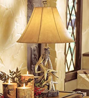 Amazon.com: Antler Floor Lamp with Faux Leather Shade - Cabin ...