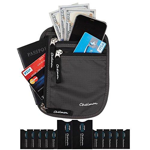 Chelmon Neck Wallet w/RFID Blocking- Concealed Travel Pouch & Passport Holder (deep grey)