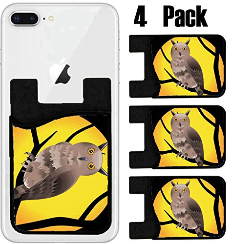 MSD Phone Card holder, sleeve/wallet for iPhone Samsung Android and all smartphones with removable microfiber screen cleaner Silicone card Caddy(4 Pack) IMAGE ID: 9085552 abstract halloween (Halloween Wallpapers For Iphone 4)