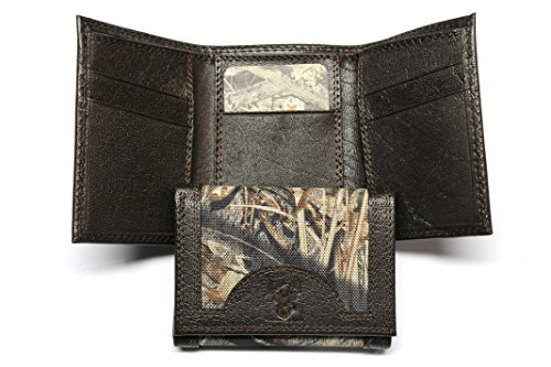 Camo Trifold Wallet - Leather and Nylon - Mossy Oak Duck Blind Pattern
