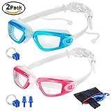 2 Packs Swim Goggles + Nose Clip + Earplugs + Mesh Pouches, ELECOOL Anti fog UV Protection NO Leaking Lenses Swimming Glasses & Swim Gear for Women Men Kids Girls Boys (Lightblue/Pink)