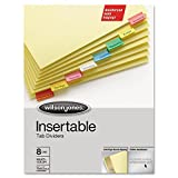 Wilson Jones 54130 Gold Pro Insertable Tab Index, Multicolor 8-Tab, Letter, Buff Sheets
