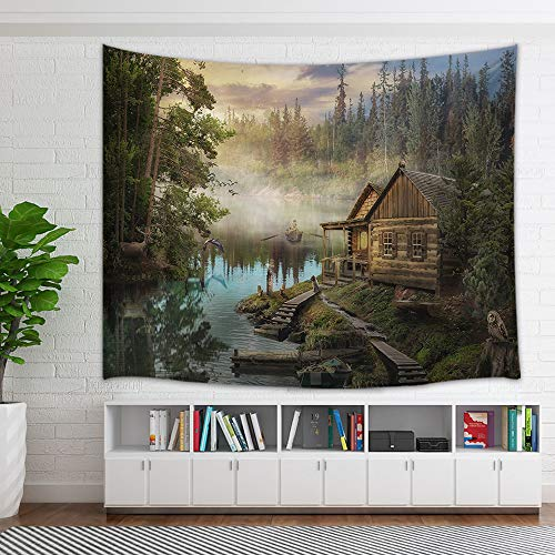 - KOTOM Natural Scenery Lake House Tapestry, Wooden Cabin Pine Tree in Magic Forest Tapestry Wall Hanging Wall Art for Bedroom Living Room Collage Dorm Home Decor Bedspread, 60