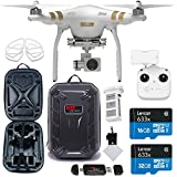 DJI Phantom 3 Professional Quadcopter Drone with 4K UHD Video Camera & 3-Axis Gimbal + Lexar 32GB MicroSDHC + Polaroid Soft Backpack Custom Foam + Propeller Guards + Ritz Gear Reader + Cleaning Cloth