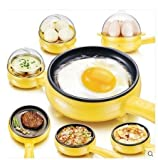 R Dabhi Multifunctional 2 in 1 Electric Egg Frying Pan with Egg Boiler Machine Measuring Cup with Handle