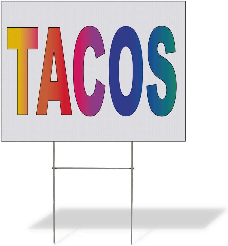 Fastasticdeals Weatherproof Yard Sign Tacos Rainbow Food Bar Restaurant Truck Lawn Garden 18x12 Inches 2 Sides Print