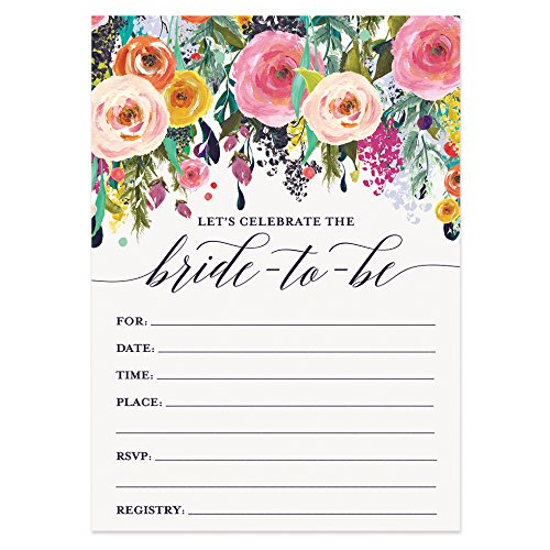 Digibuddha Bridal Shower Invitations with Envelopes (Pack of 50) Beautiful Fill-in Floral Wedding Shower Party Invites Excellent Value Invitations VI0040 -