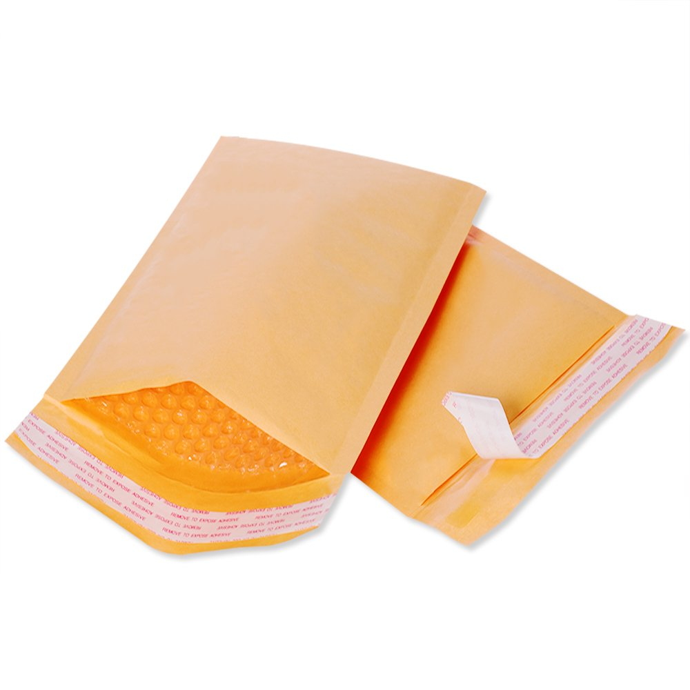 amazoncom fu global 000 4x8 inches kraft bubble mailers padded envelopes pack of 50 office products