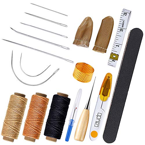 Caydo Upholstery Repair Kit, Leather Craft Hand Tools Kit with Hand Sewing Needles, Waxed Thread, Finger Cots, Scissor, Awl, Handy Stitch Ripper and Frosted Strip for Leather Repair