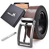 """Mens Belt Reversible Leather Removable Buckle Width 1.31"""" Belt 49"""" Long (Brown&Black)"""