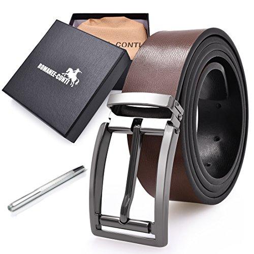 Mens Belt Reversible Leather Removable Buckle Width 1.31