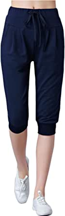 Flygo Womens 3/4 Capris Jogger Pants Below Knee Active Running Sweatpants Workout Yoga Shorts