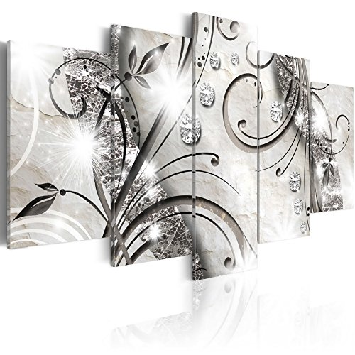 Konda Art 5 pcs Large Flower Artwork Black and White Floral Canvas Wall Art Print Painting Modern Abstract Decorative Diamond twig Hangings for Living Room Stretched and ready to hang ()