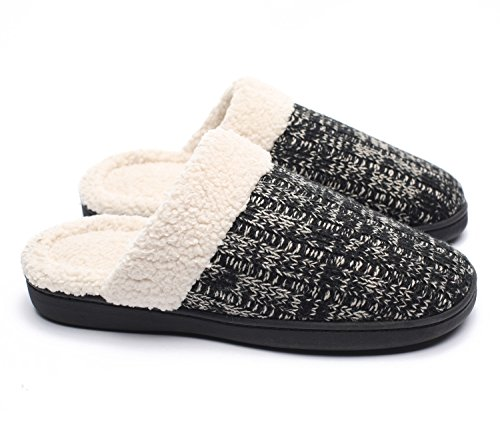 Ofoot Womens Cotton Velvet Knitted Memory Foam Anti-slip Indoor Slippers with TPR Sole (7-8 B(M) US, Black)