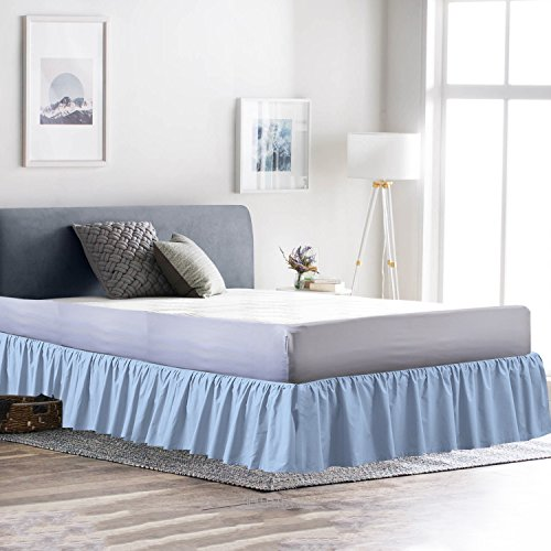 Dust Ruffle Bed Skirt 100% Microfiber Bed Wrap with Platform (+12 Inch Drop)- Easy Fit Gathered Style 3 Sided Coverage (Full, Light Blue)