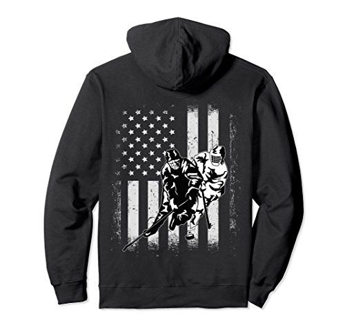 fan products of Unisex Vintage USA American Flag Ice Hockey Player Team Hoodie 2XL Black