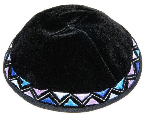 Black-Velvet-Kippah-with-Colorful-Embroidered-Border
