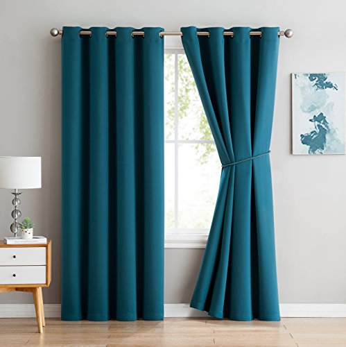 Nicole - Premium Thermal Insulated Blackout Curtain Panel - 8 Grommets - 1 Rope Tieback - 54 Inch Wide - 63 Inch Long (1 Panel 54W x 63L, (Grommet Accents)