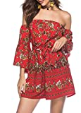Romacci Women Off The Shoulder Jumpsuit Vintage Floral Print Bell Sleeves Boho Casual Playsuit Rompers