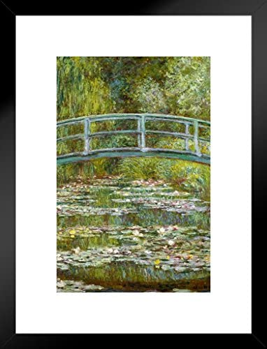 Poster Foundry Claude Monet The Water Lily Pond Japanese Bridge Matted Framed Wall Art Print 20×26