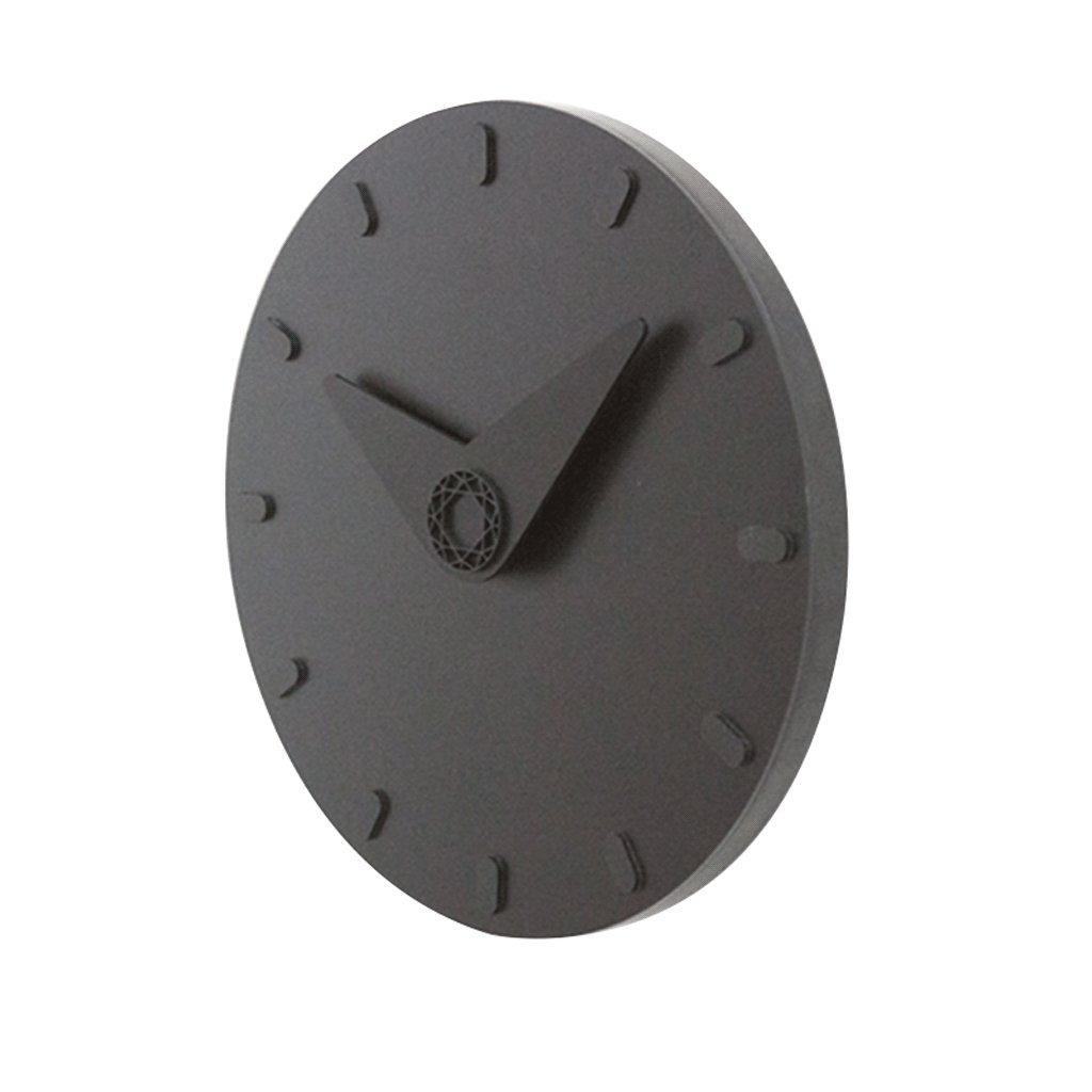 掛け時計 ウォールクロックミュートキッドファッション円形12インチ北欧スタイルの壁の装飾モダンなシンプルなリビングルームのベッドルームオフィスクォーツアメリカスタイルの壁掛け直径26cm UOMUN (色 : Black) B07C89JX4F Black Black