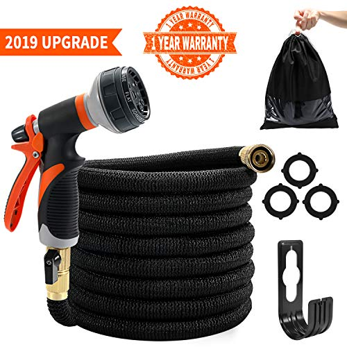 Tombert 2019 Upgraded 50ft Expandable Garden Hose, Leakproof, Lightweight, 3750D Fabric, Extra-Strong Brass Connectors, with 8-Way Durable Water Spray Nozzle.(Black)