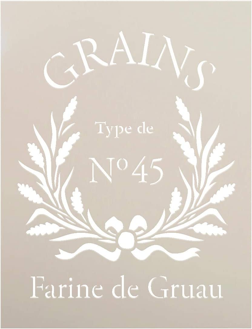 Farine De Gruau Stencil by StudioR12 | French Grains Word Art - Reusable Mylar Template | Painting Chalk Mixed Media | Use for Wall Art DIY Home Decor - STCL1427_1 | Multiple Sizes Avail (8.5