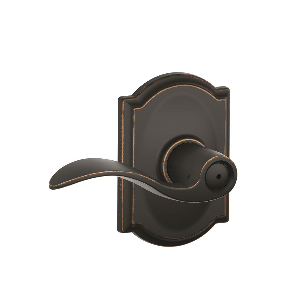 Schlage Accent Lever with Camelot Trim Bed and Bath Lock in Aged Bronze