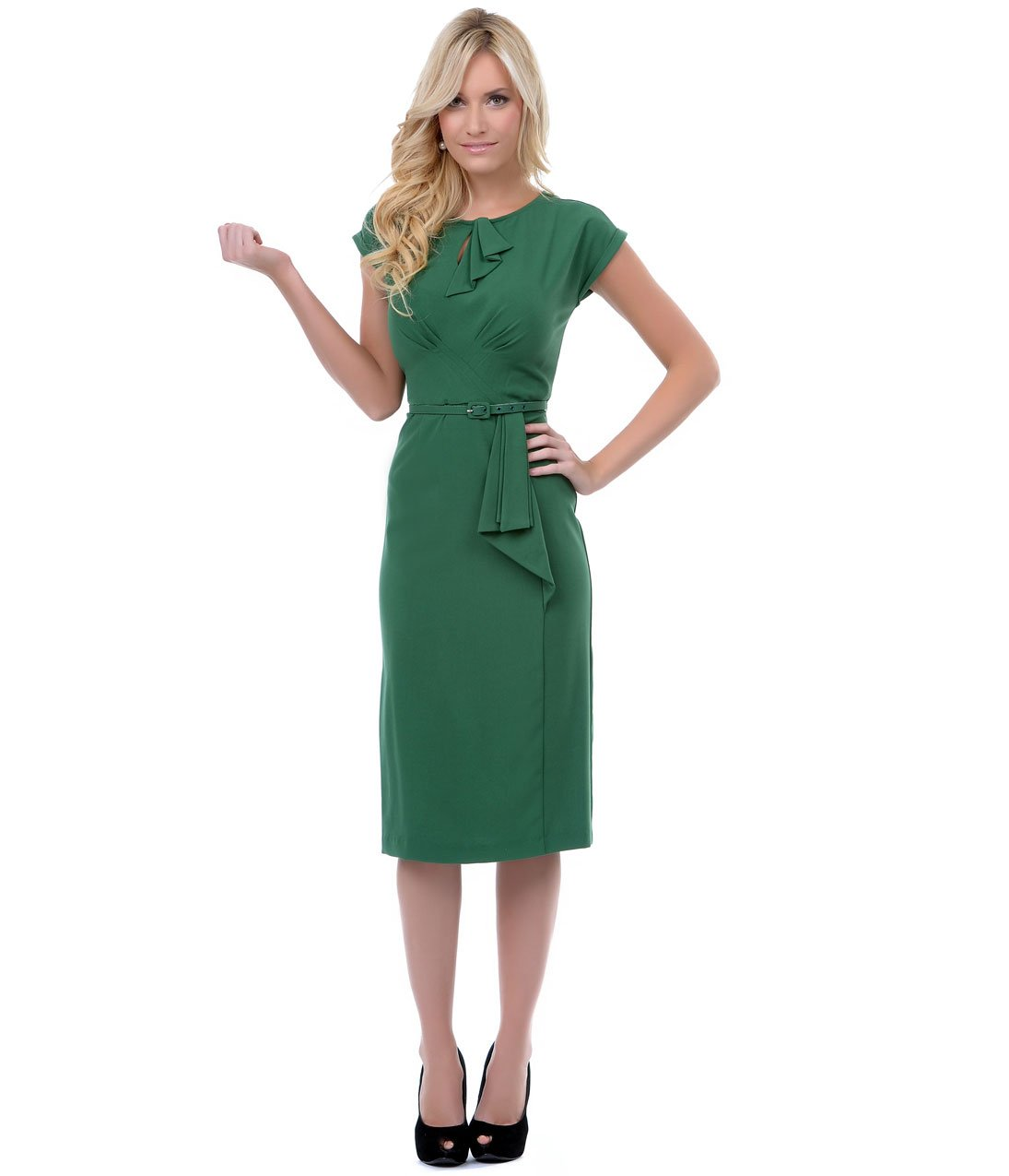 Stop Staring! 1940s Style Green Fitted Timeless Wiggle Dress by Unique Vintage