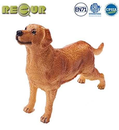 """RECUR Toys 10"""" Labrador Retriever Figure Toys, Soft Hand-Painted Skin Texture Dog Toys for Kids- 1:4 Scale Realistic Design Labrador Replica, Ideal for Collectors, Ages 3 And Up -"""