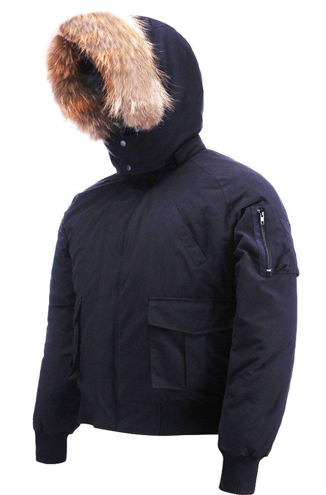 Arctic Residents Rocky Mens Winter Down Jacket Bomber Jacket Down Coat Black Size Large